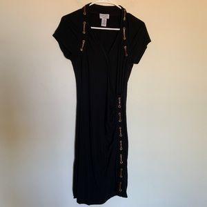 Carmen Marc Valvo Leather Lace Accent Dress M